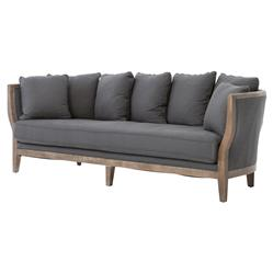 Deanne Rustic Charcoal Grey Exposed Frame Sofa | Kathy Kuo Home