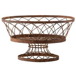 Degas Large Rusted Oval Pedestal Iron Baskets - Set of 2 | Kathy Kuo Home