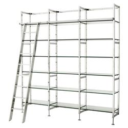 Delano Modern Classic Stainless Steel Clear Glass Ladder Display Case Bookshelf | Kathy Kuo Home