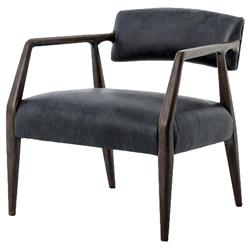 Delavan Modern Classic Black Leather Oak Armchair | Kathy Kuo Home