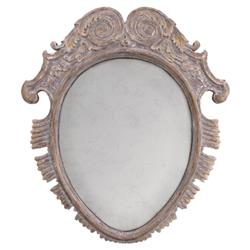 Denice French Worn Taupe Winged Engraved Oval Wall Mirror | Kathy Kuo Home