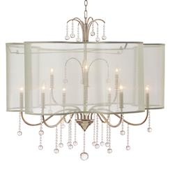 Denise Hollywood Regency Champagne Silver Crystal 9 Light Chandelier
