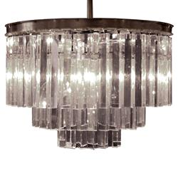 Desmond Hollywood Regency Optical Glass Crystal 3 Tier Chandelier