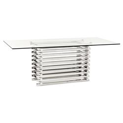 Destro Modern Classic Stainless Steel Rectangular Clear Glass Dining Table | Kathy Kuo Home