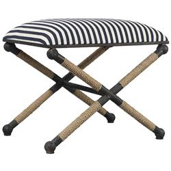 Devin Coastal Beach Sailor Stripe Roped Iron Stool | Kathy Kuo Home