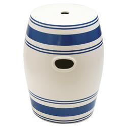 Devon Coastal Beach Blue Horizontal Stripe Garden Stool | Kathy Kuo Home