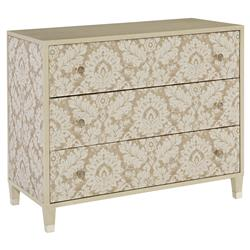Diana Floral Damask Ivory Soft Brown Nightstand | Kathy Kuo Home