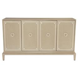 Diana Soft Brown Ivory Trim Nickel Wood Buffet | Kathy Kuo Home