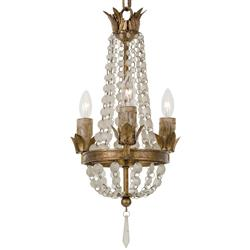 Diane French Country Ivory Bead Antique Gold 3 Light Chandelier | Kathy Kuo Home