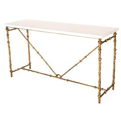 Diego Oly Antique Gold White Gloss Console Table | Kathy Kuo Home