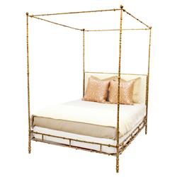 Diego Oly Ivory Sculpted Gold Canopy Bed - Queen | Kathy Kuo Home