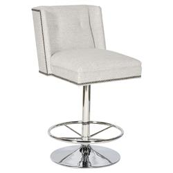 Dillon Modern Grey Stainless Steel Swivel Counter Stool | Kathy Kuo Home