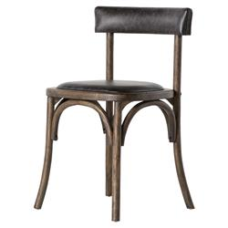 Dima French Country Black Leather Bistro Chair | Kathy Kuo Home
