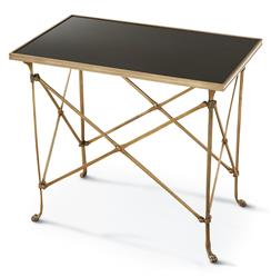 Directors Cut Hollywood Regency Gold Black Marble Rectangular End Table | Kathy Kuo Home