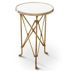 Directors Cut Hollywood Regency Gold White Marble Round End Table | Kathy Kuo Home