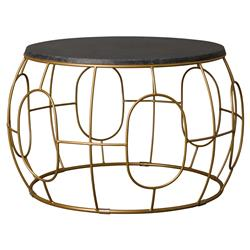 Dixie Modern Geometric Gold Iron Outdoor Coffee Table | Kathy Kuo Home