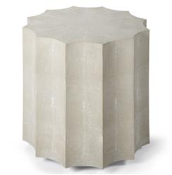 Docher Coastal Beach Ivory Grey Faux Shagreen Scalloped End Table | Kathy Kuo Home