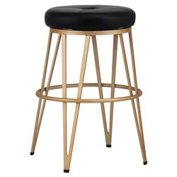 Dockery Modern Classic Black Faux Leather Gold Swivel Barstool | Kathy Kuo Home