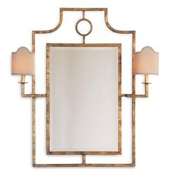 Doheny Hollywood Regency Bamboo Gold Leaf Mirror With Sconces | Kathy Kuo Home