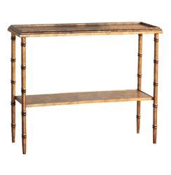 Doheny Hollywood Regency Style Gold Faux Bamboo Console | Kathy Kuo Home