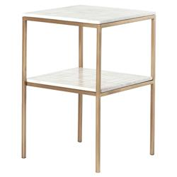 Dolly Modern Classic 2 Tier Gold Frame White Marble Shelves Nightstand | Kathy Kuo Home