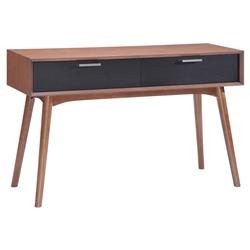 Donny Mid Century Walnut Black Wood Two Drawer Console Table | Kathy Kuo Home