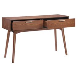 Donny Mid Century Walnut Wood Two Drawer Console Table | Kathy Kuo Home