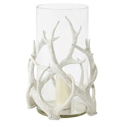 Dorset Rustic Lodge White Deer Antlers Glass Hurricane Lamp | Kathy Kuo Home