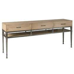 Downtown Rustic Lodge White Oak Wrought Iron Console Table | Kathy Kuo Home