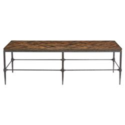 Doyle Lodge Herringbone Wood Blackened Steel Coffee Table | Kathy Kuo Home
