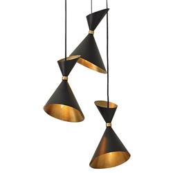 Drew Mid Century Loft Black Gold Tapered Pendant | Kathy Kuo Home