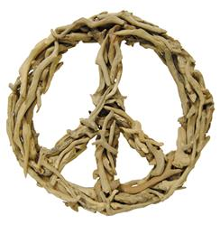 Driftwood Peace Sign Sculpture 16 x 16 | Kathy Kuo Home