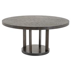 Drummond Modern Classic Mahogany Charcoal Round Dining Table | Kathy Kuo Home