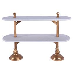 Du Pan Boulanger Double Platform Brass Marble Tray | Kathy Kuo Home
