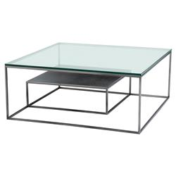 Durand Modern Classic Glass Black Nickel Rectangular Coffee Table | Kathy Kuo Home