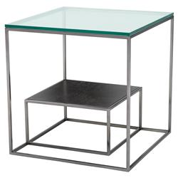 Durand Modern Classic Glass Metal Oak Nesting Square Side Tables | Kathy Kuo Home