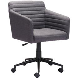 Dylan Modern Classic Dark Grey Upholstered Black Steel Base Office Chair | Kathy Kuo Home