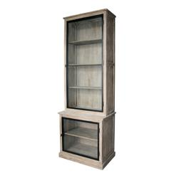 Eastlake French Country Solid Oak Gray Wash Curio Cabinet