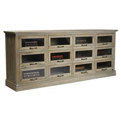 Eaton Rustic Washed Wood Mantle Glass Dresser - 12 Drawer | Kathy Kuo Home