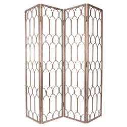 Ebele Global Antique Gold Mountain Pattern Folding Floor Screen | Kathy Kuo Home