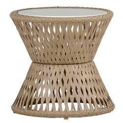 Echo Woven Natural Hourglass Outdoor End Table | Kathy Kuo Home