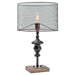 Eckley Industrial Loft Rustic Wire Shade Table Lamp | Kathy Kuo Home