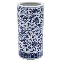 Ed Modern Classic Blue and White Twisted Lotus Porcelain Umbrella Stand | Kathy Kuo Home