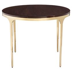Eda Brass Modern Eucalyptus Round Center Dining Table | Kathy Kuo Home