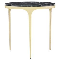Eda Modern Black Marble Round Gold End Table | Kathy Kuo Home