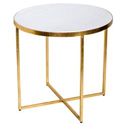 Edie Gold Leaf Cross Frame Marble End Table | Kathy Kuo Home