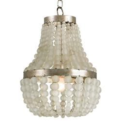 Edisto Hollywood Regency Style White Beaded 1 Light Chandelier | Kathy Kuo Home