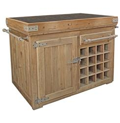 Edmond French Country Reclaimed Pine Blue Stone Kitchen Island