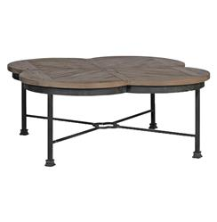 Edwin Rustic Quatrefoil Reclaimed Wood Iron Coffee Table | Kathy Kuo Home