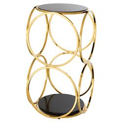 Eichholtz Alister Modern Regency Gold Black Marble Circle Side Table | Kathy Kuo Home